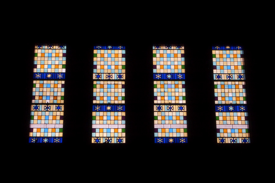 "<br>Kingsway Synagogue windows, west wall<br>1956<br>Glass<br>70 x 144"" each"