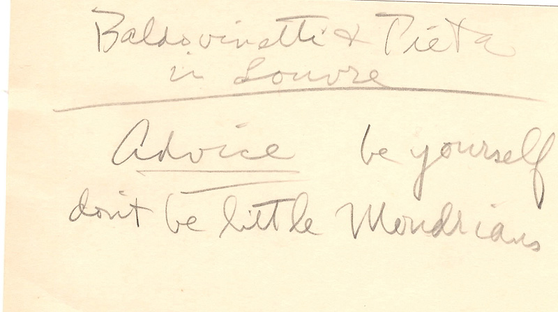 Notecard from a talk<br>1954