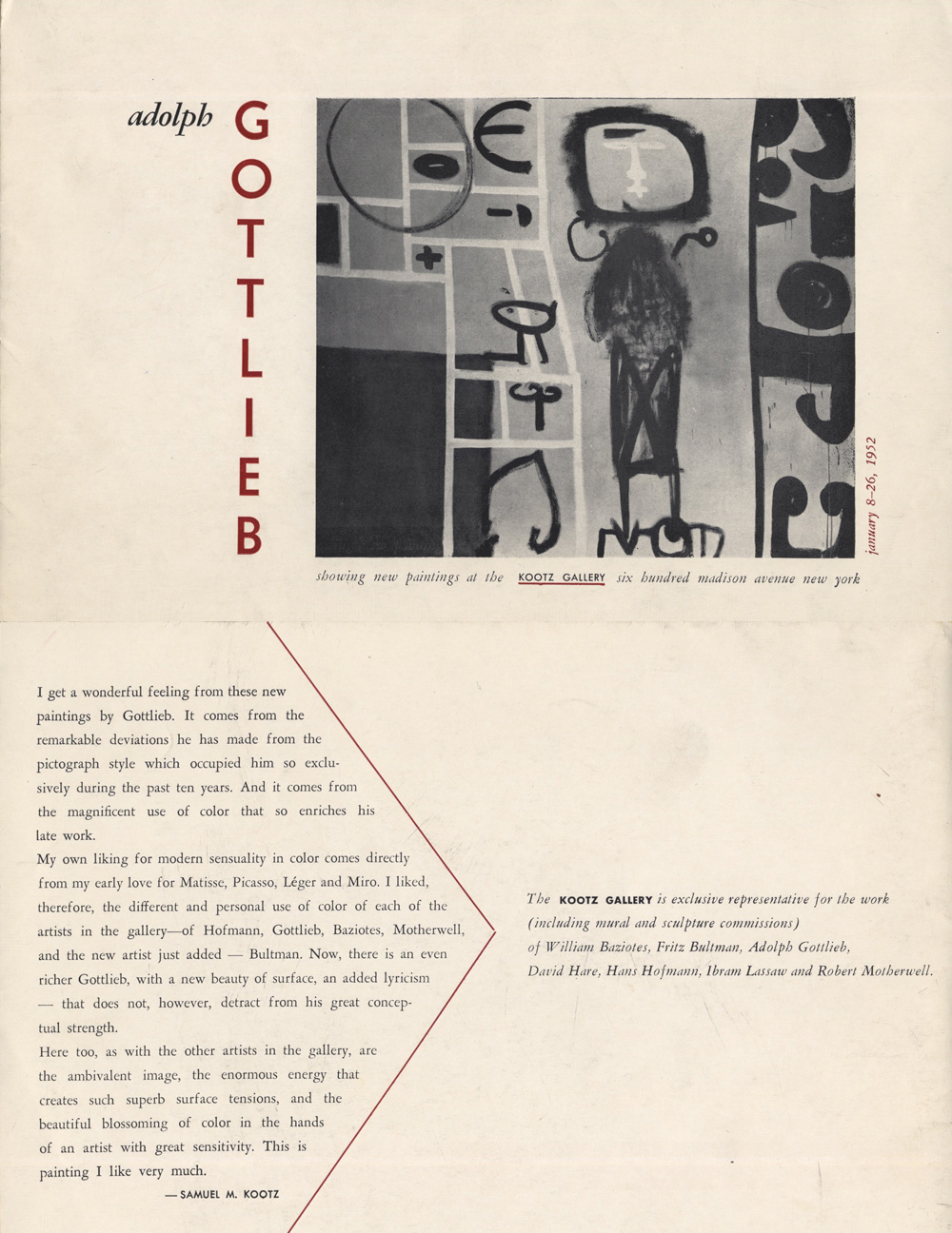 Invitation for Gottlieb exhibition <br>at Kootz Gallery<br>Top - Front, Bottom - Back<br>1951