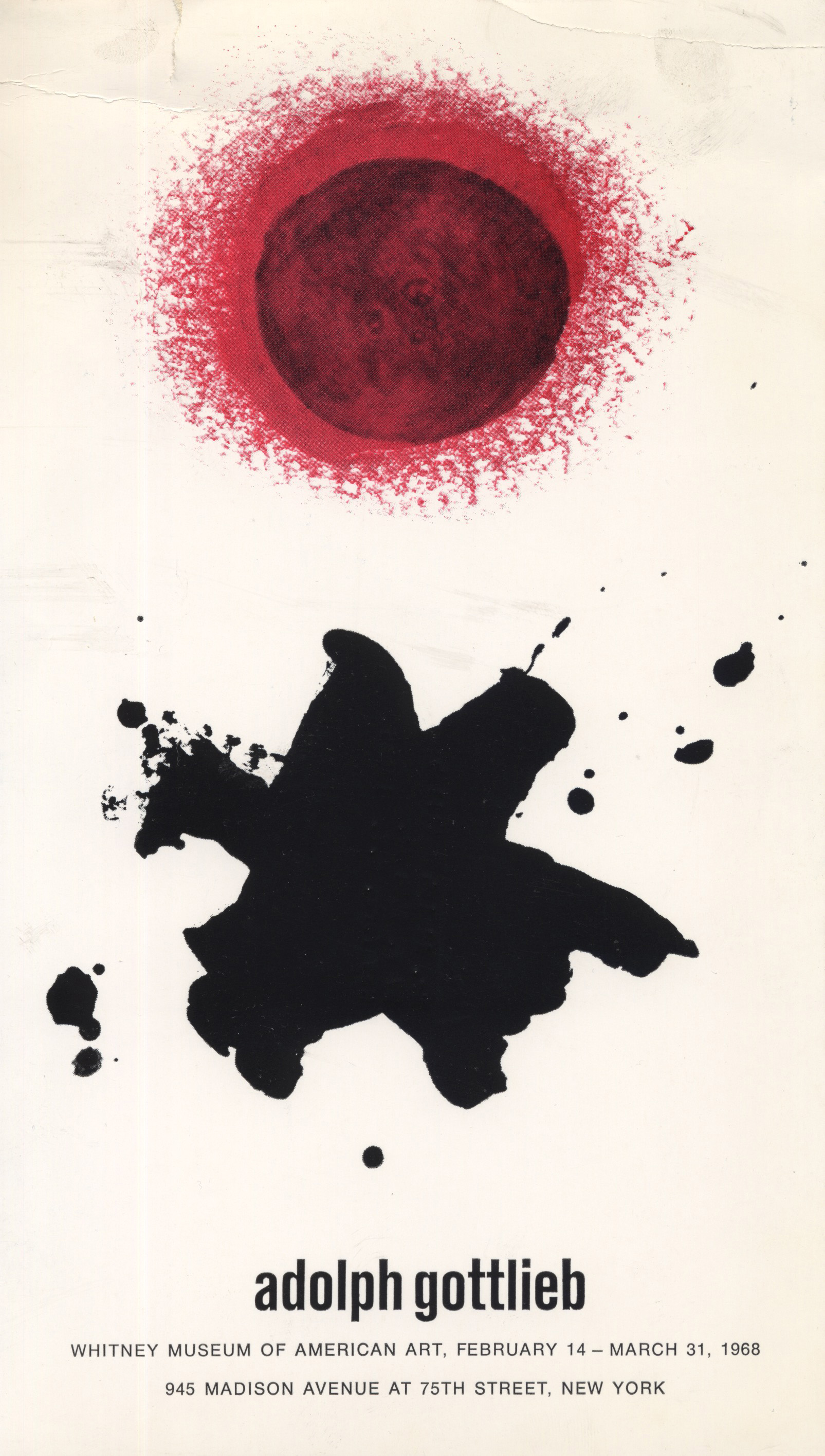 Invitation for the Gottlieb retrospective<br>The Whitney Museum of American Art<br>1968
