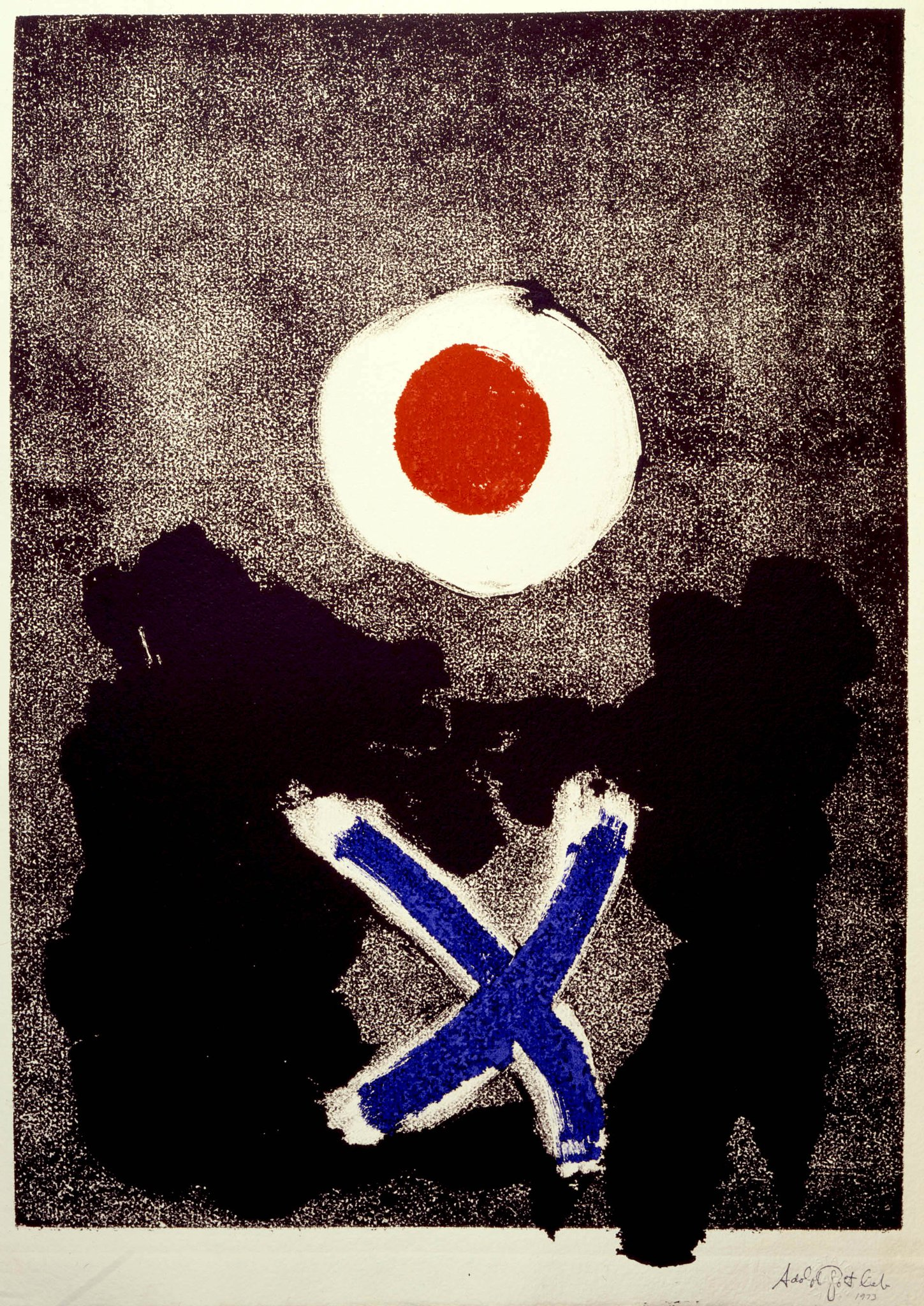 """Adolph Gottlieb  Untitled  1974 Monotype in ink on paper 26 x 18"""""""
