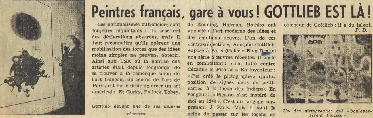 """The title of an article published in """"La Gazette Lauzanne"""" and """"Tribune de Lausanne"""" in 1959 exclaims, """"French painters, watch out! Gottlieb is here!"""""""