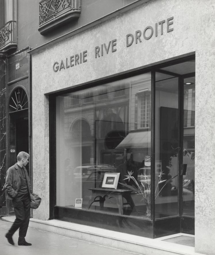 Outside of Galerie Rive Droite, Paris, 1959.