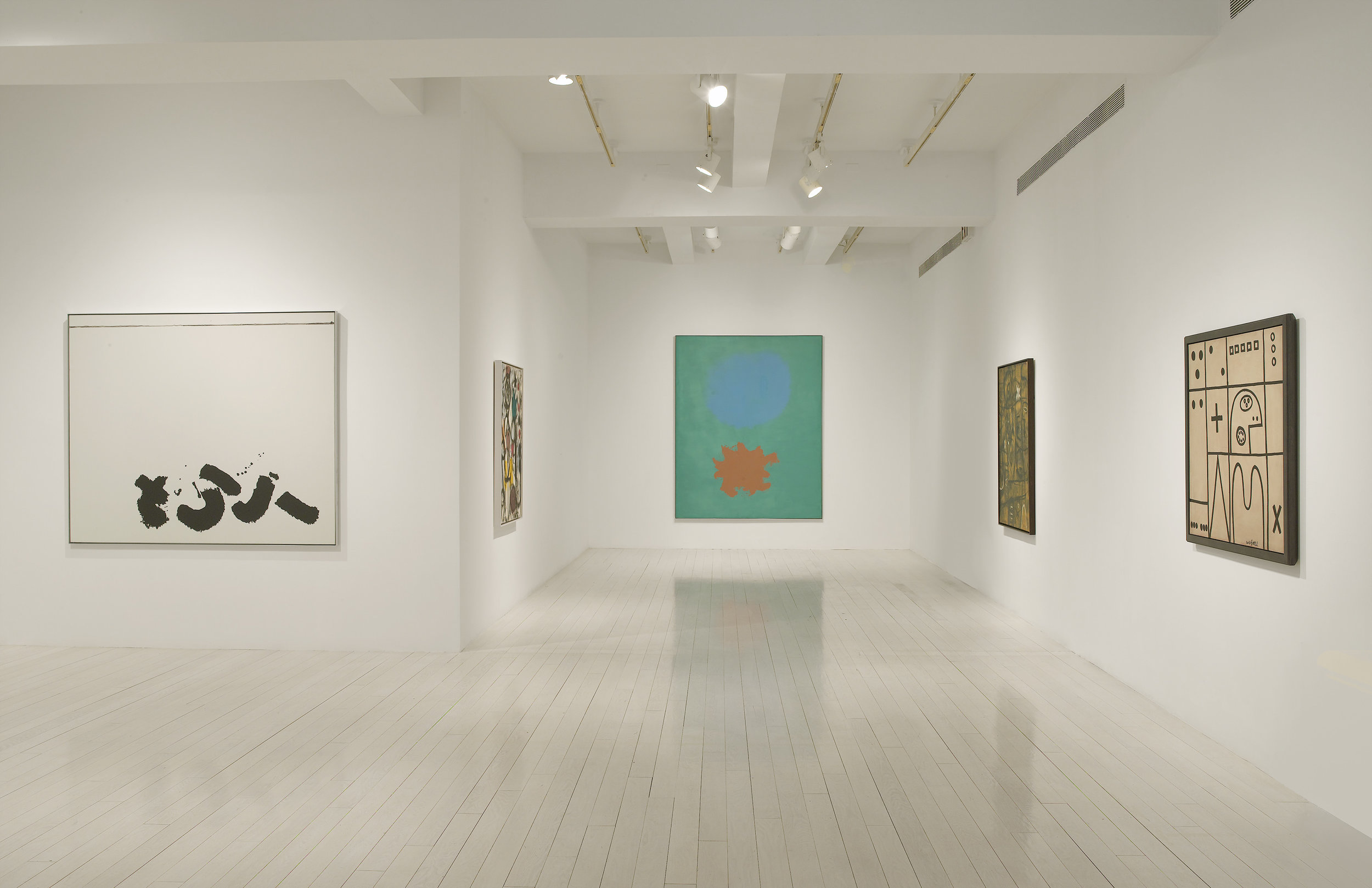 """Installation view of """"Paintings from Four Decades"""" at Pace Gallery, New York, 2008."""