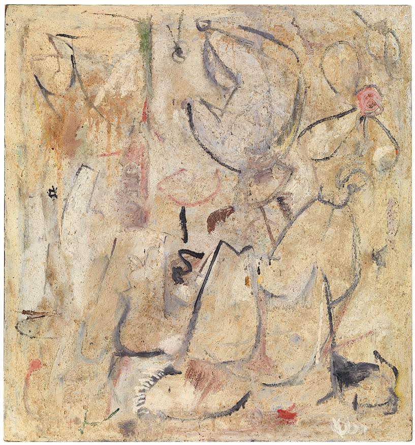 """Helen Frankenthaler """"Beach,"""" 1950 Oil, sand, plaster of Paris and coffee grounds on sized, primed canvas 34 1/4 x 32 inches (86.9 x 81.3 cm) Helen Frankenthaler Foundation, New York © 2018 Helen Frankenthaler Foundation, Inc. / Artists Rights Society (ARS) New York Photograph by Rob McKeever, courtesy Gagosian Gallery"""
