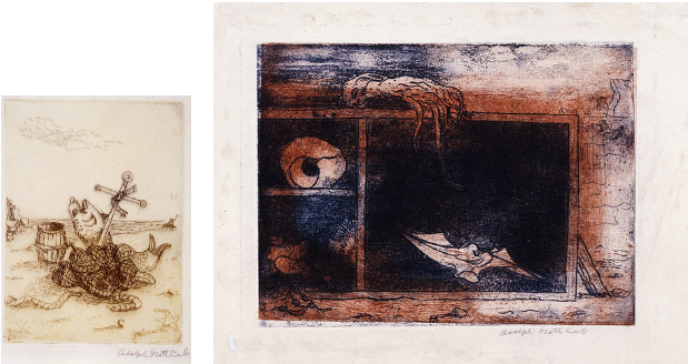 """Left: Adolph Gottlieb, UNTITLED (FISH & ANCHOR), c. 1938, etching on paper,3 7/8 x 2 3/4""""  Right: Adolph Gottlieb, UNTITLED (SEASIDE STILL LIFE), c. 1940, Etching and aquatint on cream wove paper,6 x 7 5/8"""""""