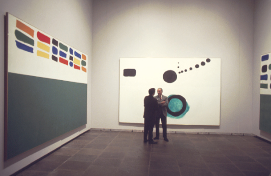 Adolph Gottlieb at the Whitney Museum with Stewart Kranz, 1968 Shown: Units #2, Azimuth, Units #3 Photo by Michael Fredericks Art ©Adolph and Esther Gottlieb Foundation/Licensed by ARS, NY, NY