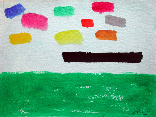 """UNTITLED, 1970, acrylic on paper, 9 x 12 """""""