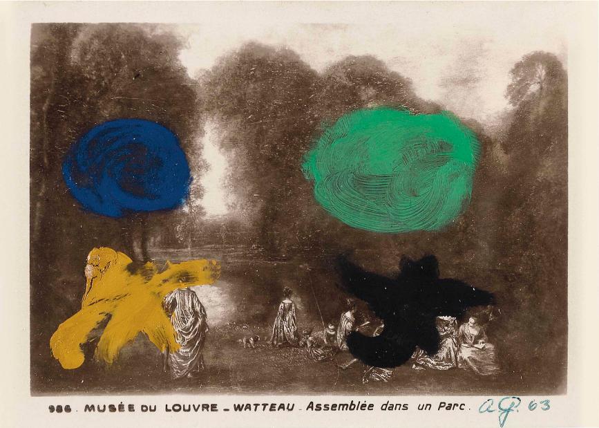 """WATTEAU, ASSEMBLEE DANS UN PARC,  1963, acrylic on postcard, 3 1/2 x 5"""""""