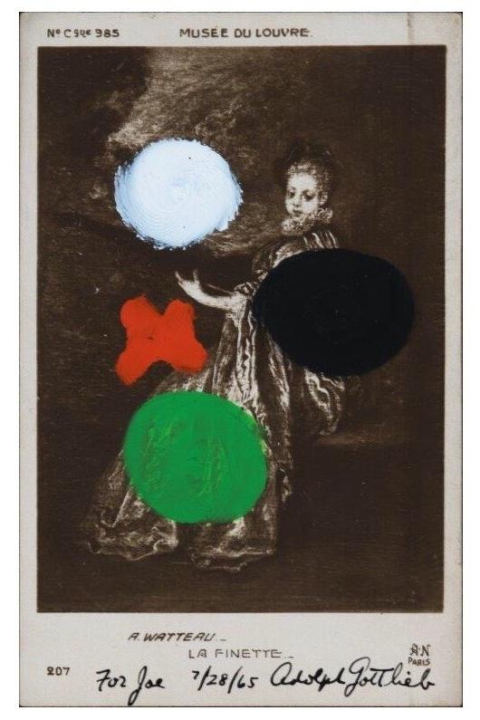 "WATTEAU - ""LA FINETTE"", 1963, acrylic on postcard, no dims."