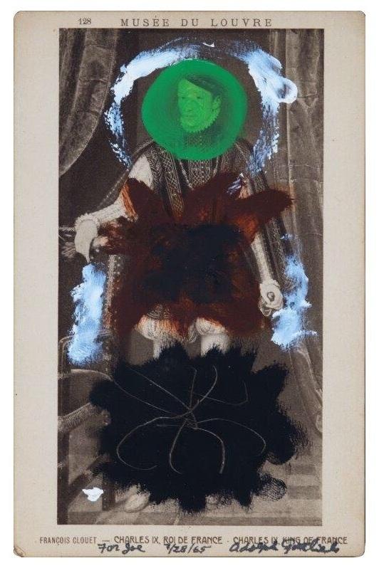 "FRANCOIS CLOVET ""CHARLES IX - ROI DE FRANCE"", 1963, acrylic on postcard, no dims."
