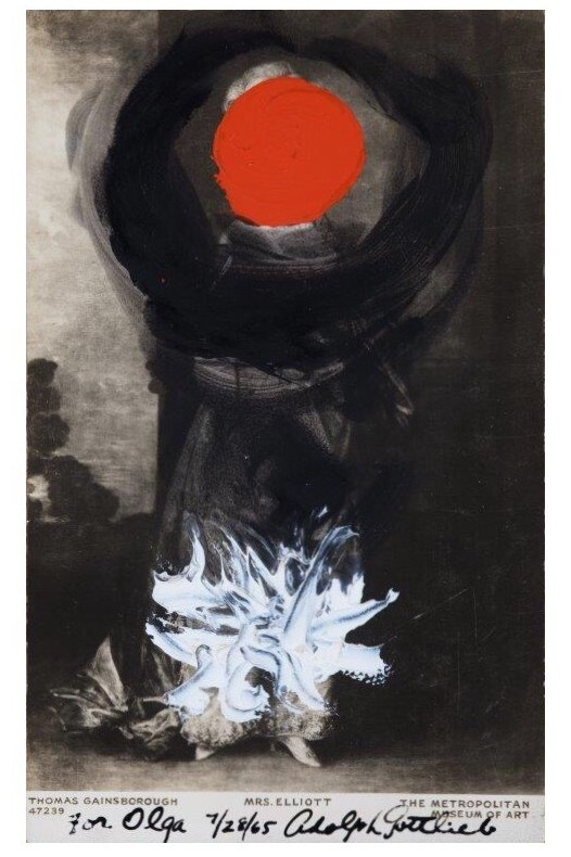 "GAINSBOROUGH- ""MRS ELLIOT"", 1963, acrylic on postcard, no dims"