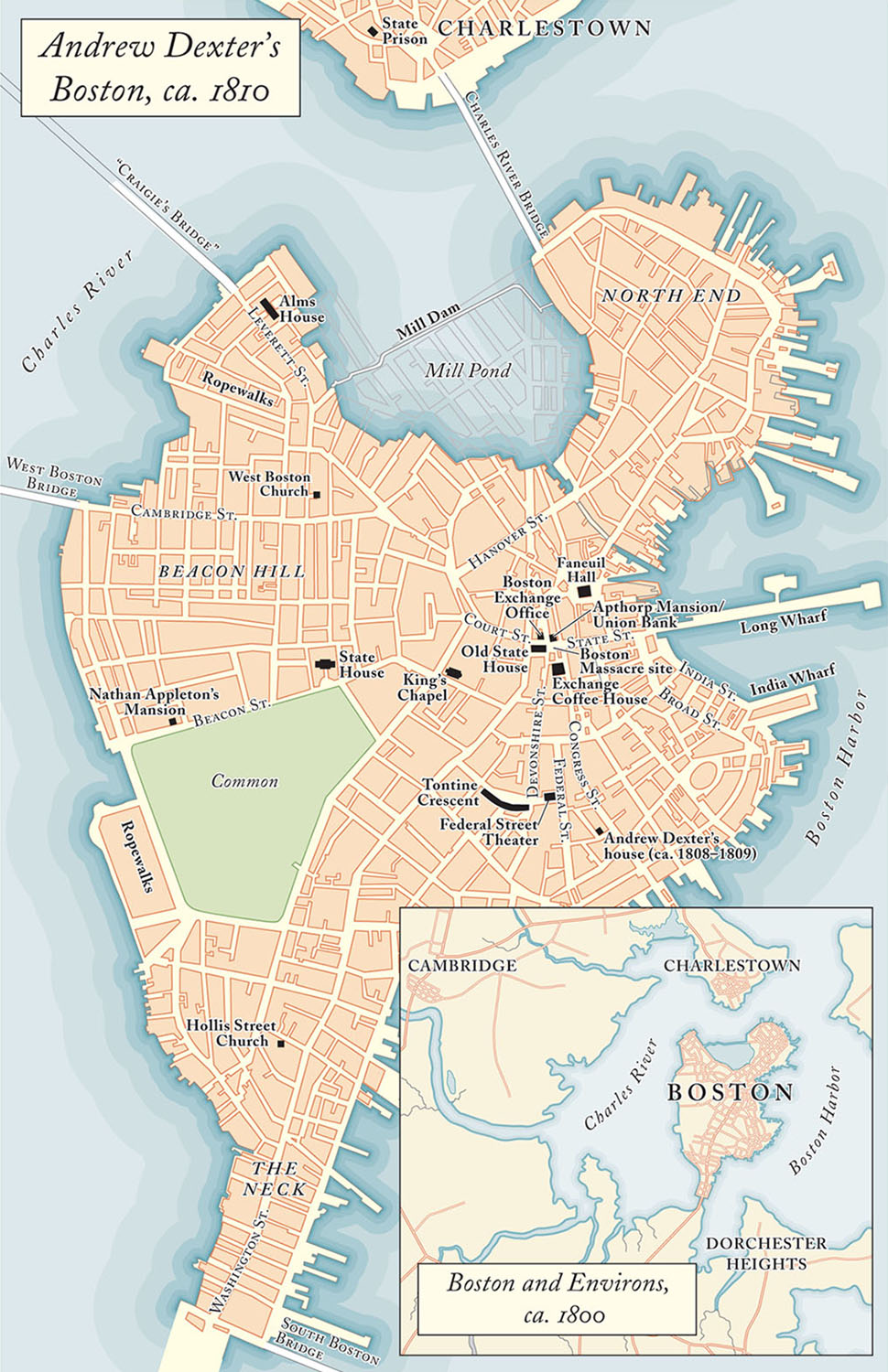 Drawn for   The Exchange Artist: A Tale of High-Flying Speculation and America's First Banking Collapse,  by Jane Kamensky  (Viking, 2008). Map copyright © Jane Kamensky.    Another map originally designed in grayscale; re-styling Adobe Illustrator vector maps is easy, particularly if the original file is rationally layered.