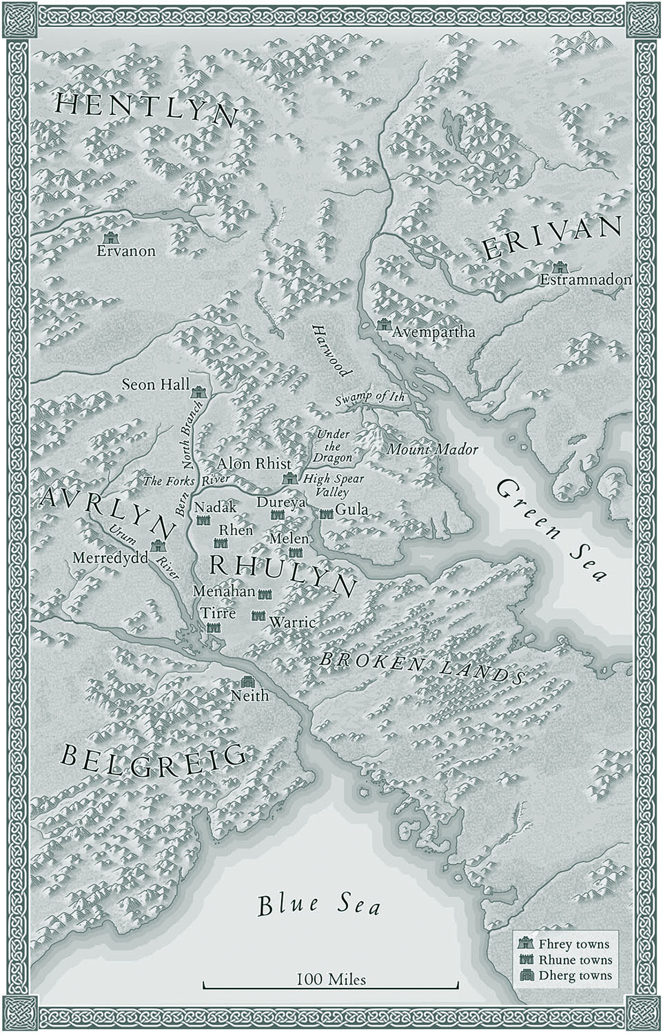 For    Age of Myth,      by Michael J. Sullivan   (Del Rey, 2016).   Map copyright © David Lindroth Inc. A imaginary world, fleshed out from the author's sketch.