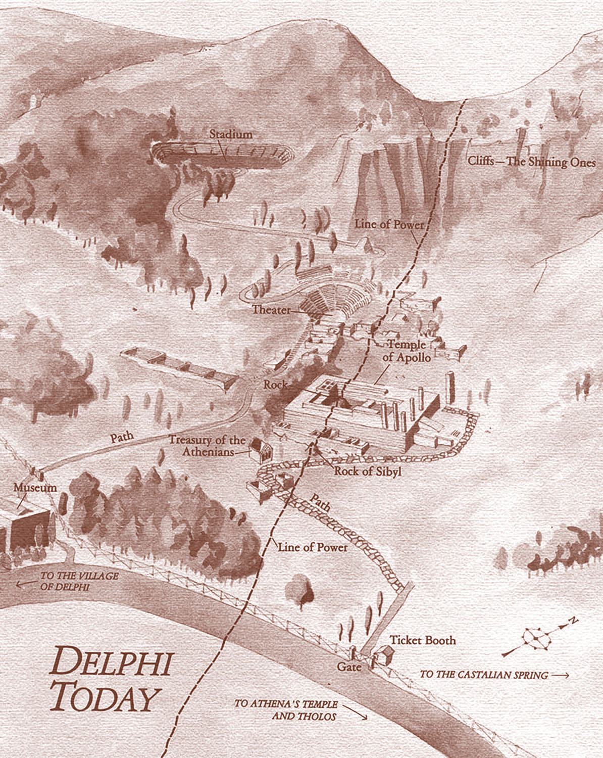 Watercolor for use in a young-adult novel. Originally published in grayscale, shown here as a duotone.  Map copyright © David Lindroth Inc. 1986.