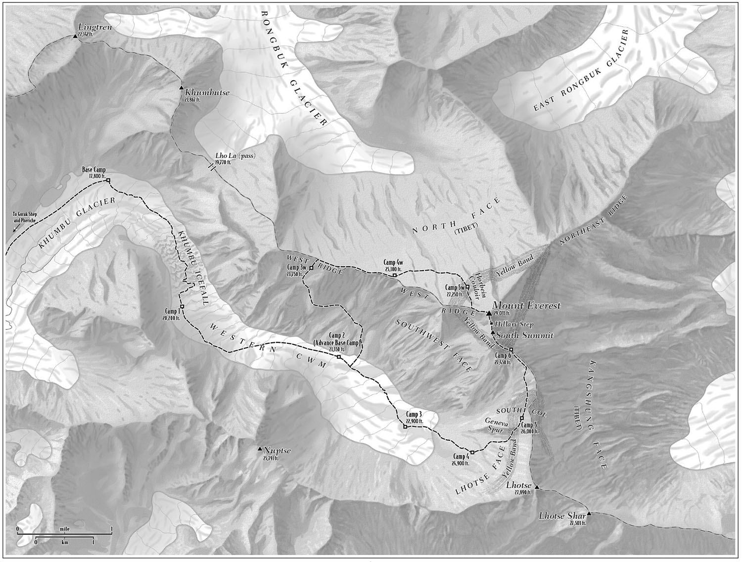 For    The Vast Unknown: Americas First Ascent of Everest, by Broughton Coburn  (Crown 2013). Map © Broughton Coburn.