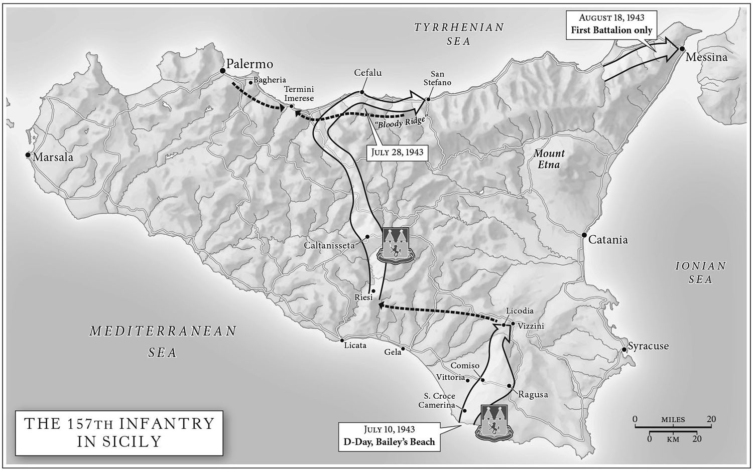One of thirteen maps for    The Liberator, by Alex Kershaw   (Crown, 2012). Map copyright © Alex Kershaw.  Liberator  describes the World War II route of the 157th Infantry from Sicily, to Salerno, Anzio, and Rome, then up the Rhône Saone valley, through the Vosges, and finally into Bavaria and Dachau.