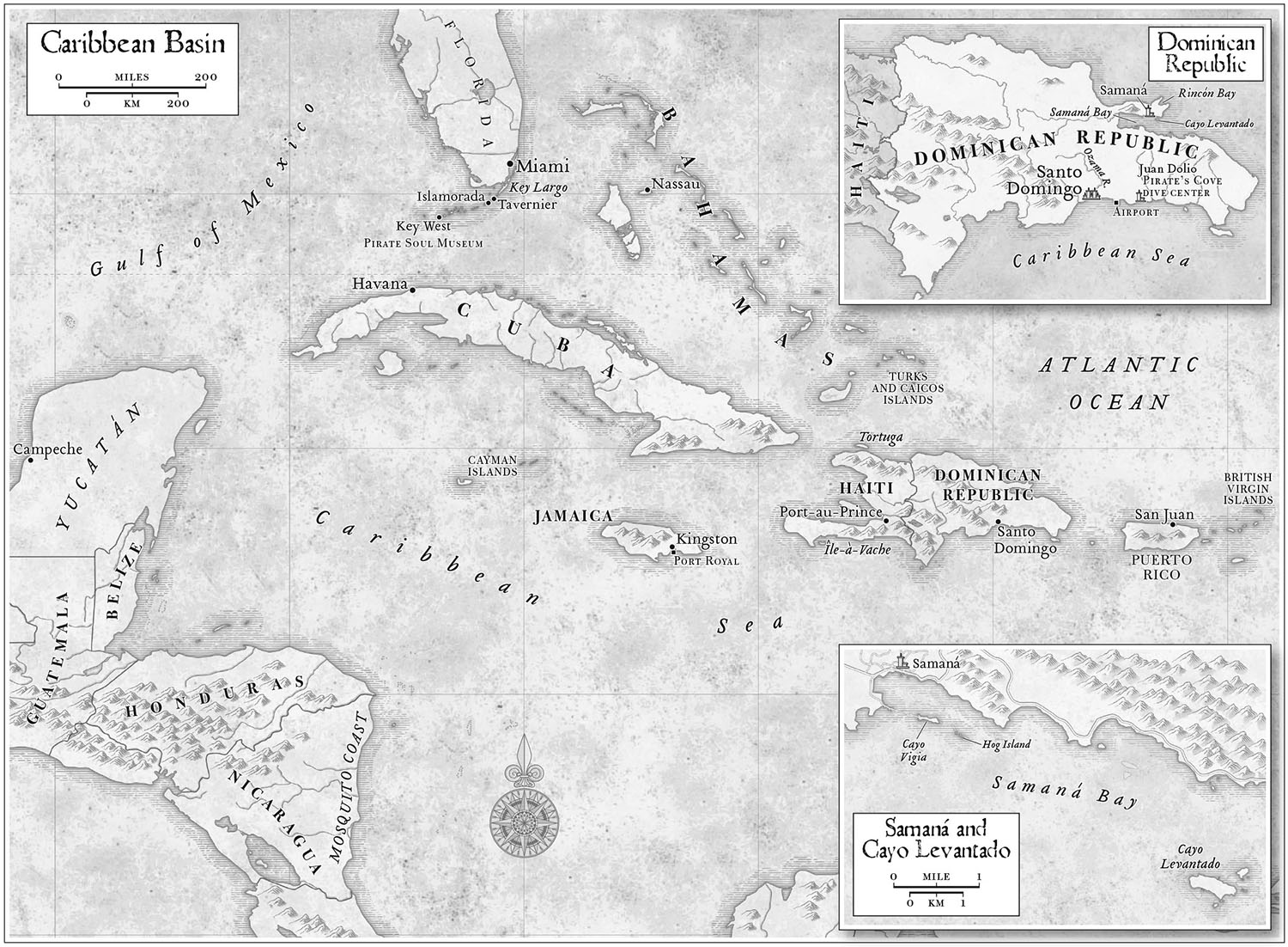 For   Pirate Hunters: Treasure, Obsession, and the Search for a Legendary Pirate Ship,  by Robert Kurson  (Random House, 2015).  Map copyright © David Lindroth Inc.    .
