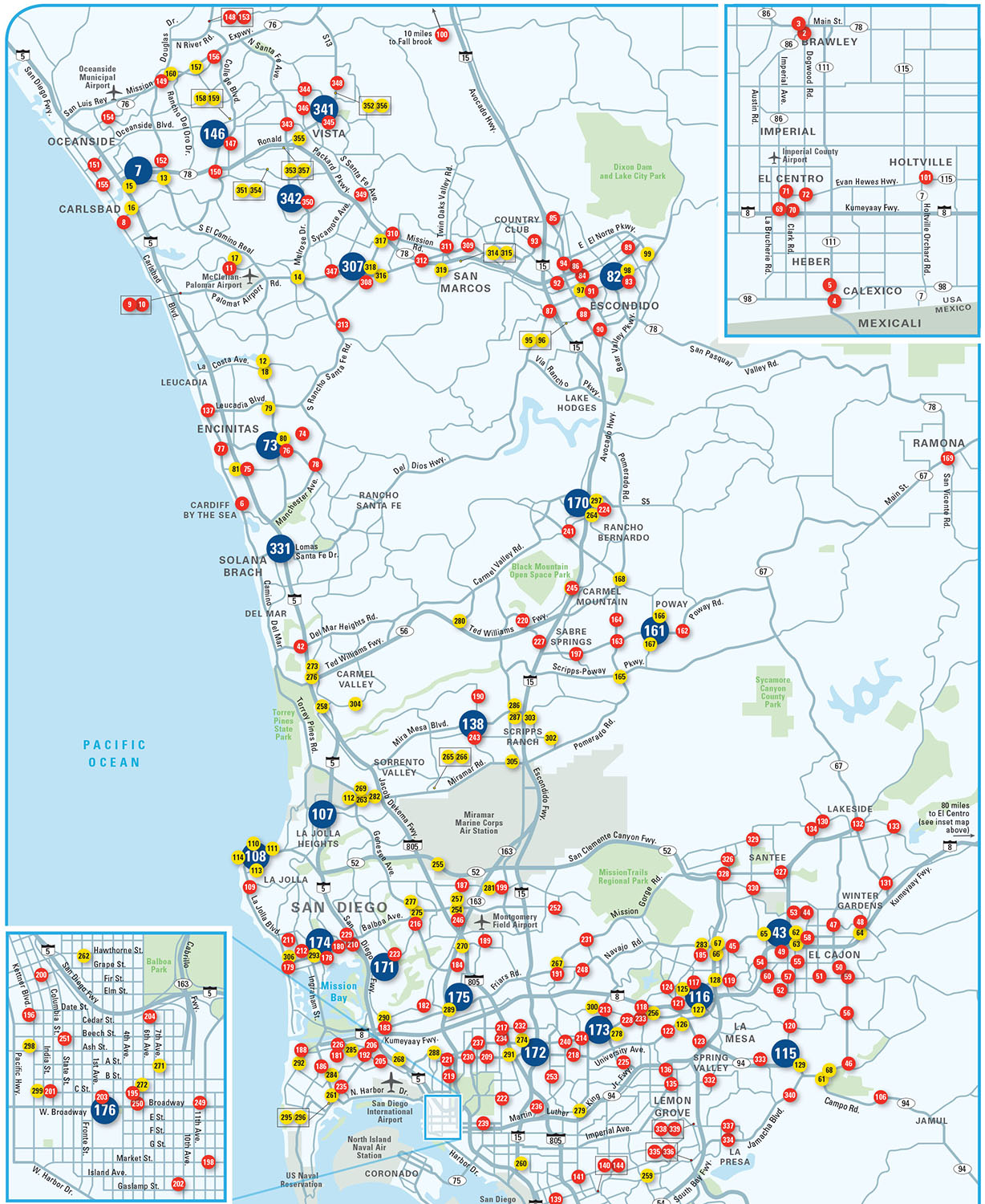 A section of a map for Citibank showing ATMs accessible to their card-holders, distinguishing Citibank offices from 7-Elevens and other venues. Copyright © Wunderman.