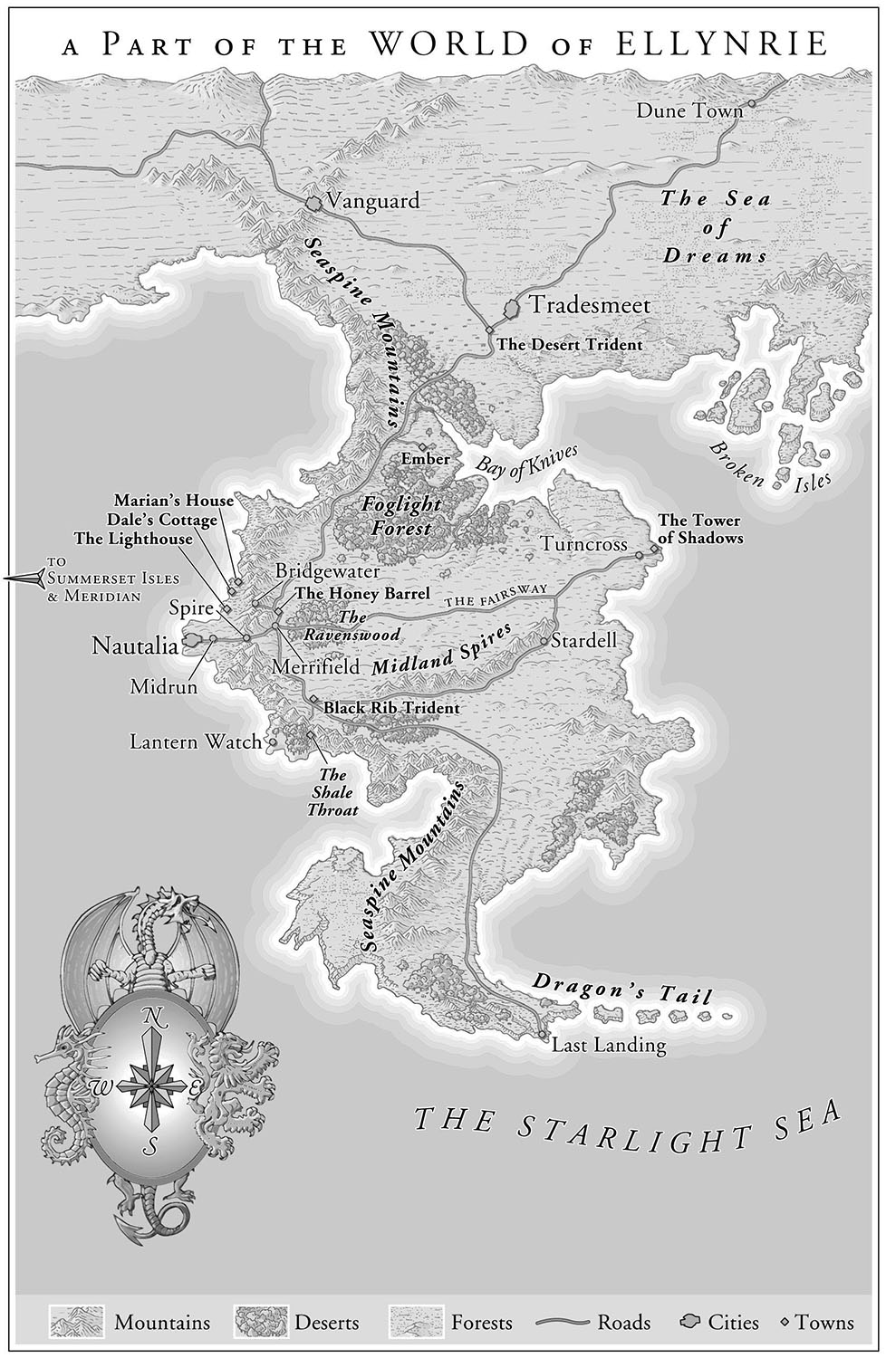 For    Tower of Shadows,      by Drew C. Bowling   (Del Rey, 2006).    Another imaginary world, developed from the author's sketch.   Map copyright © Drew C. Bowling.