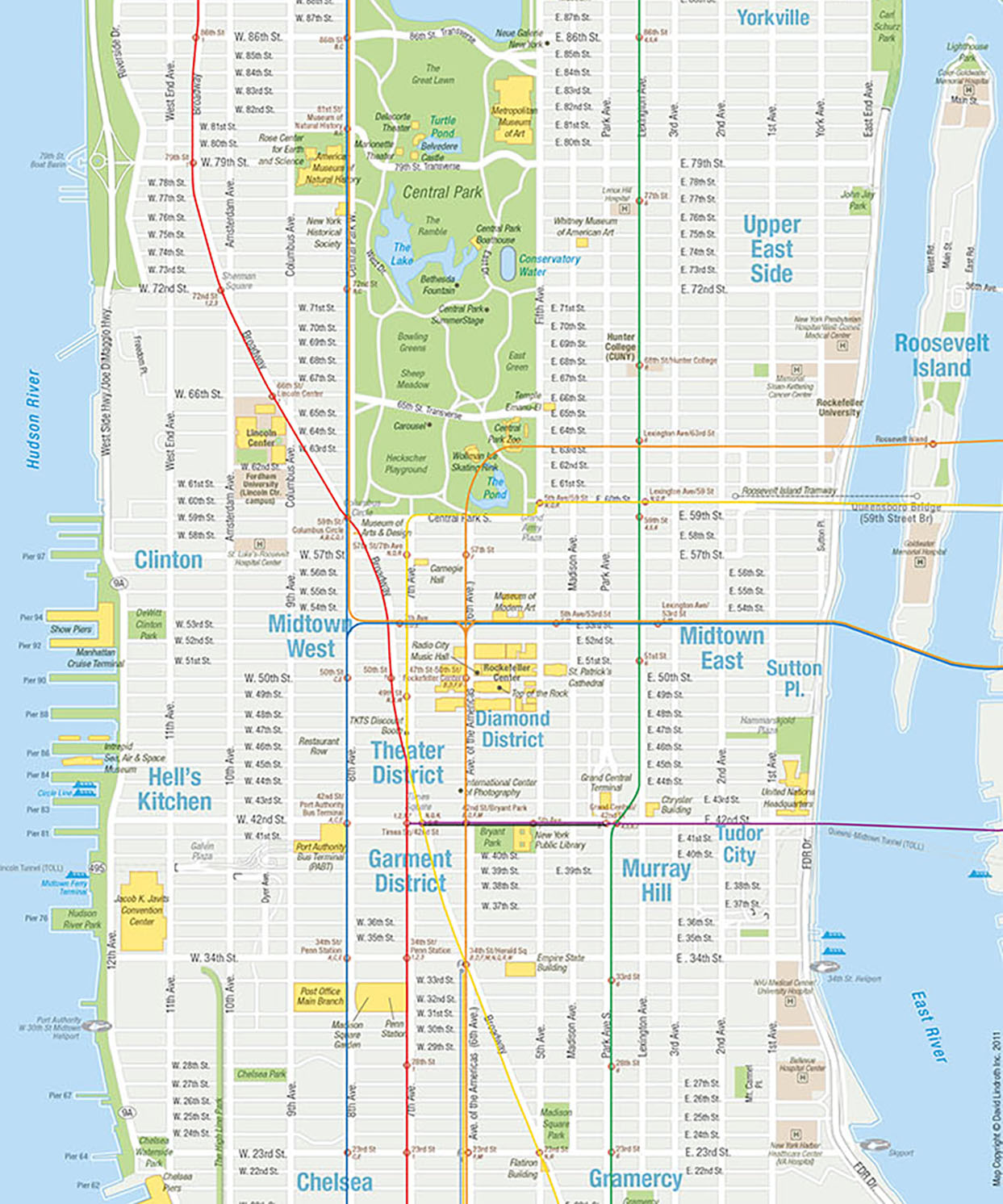 MANHATTAN TEAR-OFF MAPS (2011)    These two maps (above and right) were distributed to information centers in pad form.  Visitors could get directions from agents who could write instructions or tips on the map, tear off the sheet so the person could take it with them.