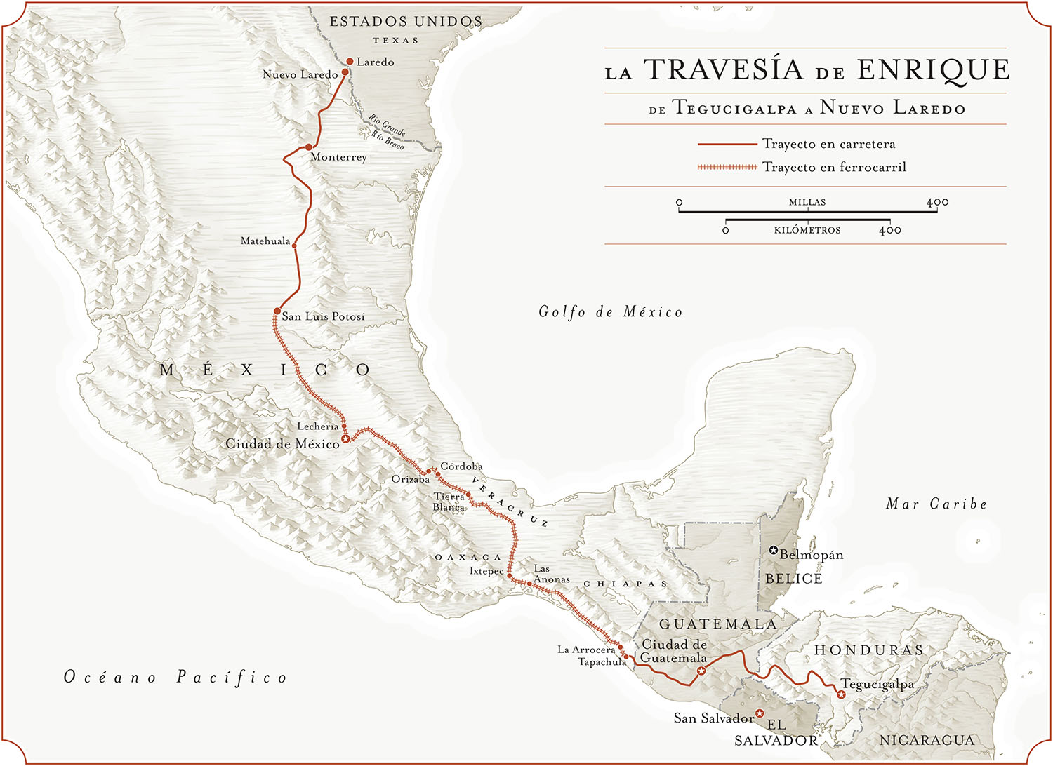 From   Enrique's Journey: The Story of a Boy's Dangerous Odyssey to Reunite with His Mother,      by Sonia Nazario  (Random House, 2006) .  Map Copyright © David Lindroth Inc.