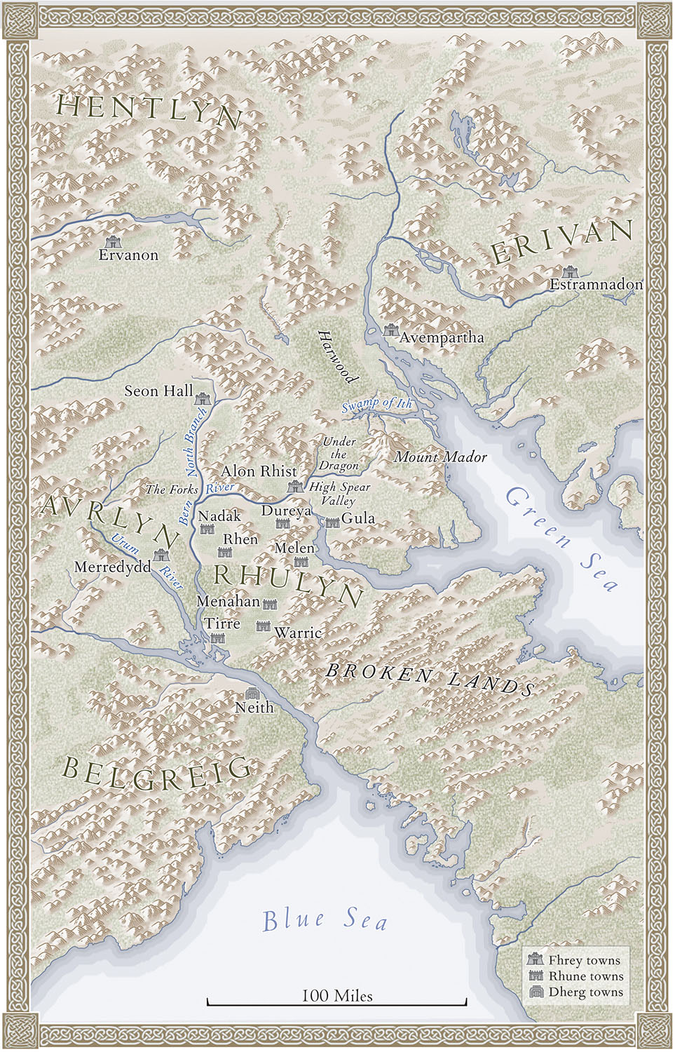 For   Age of Myth,    by Michael J. Sullivan  (Del Rey, 2016). Map copyright © David Lindroth Inc. An imaginary world, fleshed out from the author's sketch.
