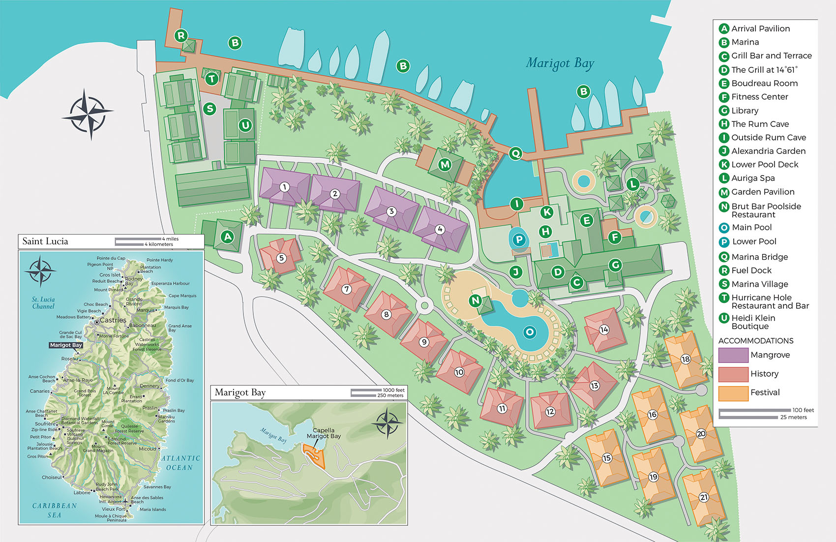 Site plan and locator maps for Capella Marigot Bay resort brochure.  © David Lindroth Inc.