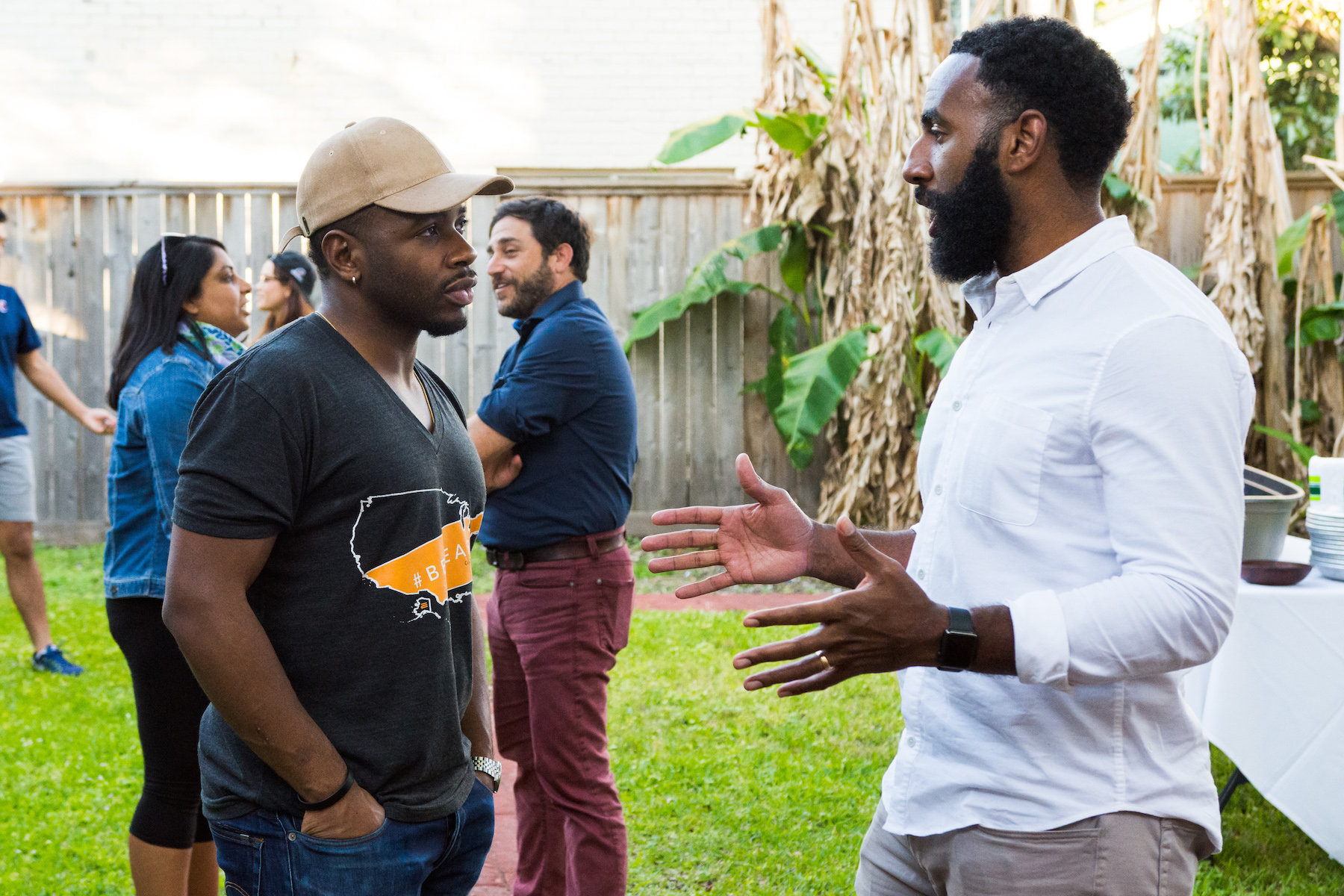 Fellow Damola and his coach Tony connect at the crawfish boil
