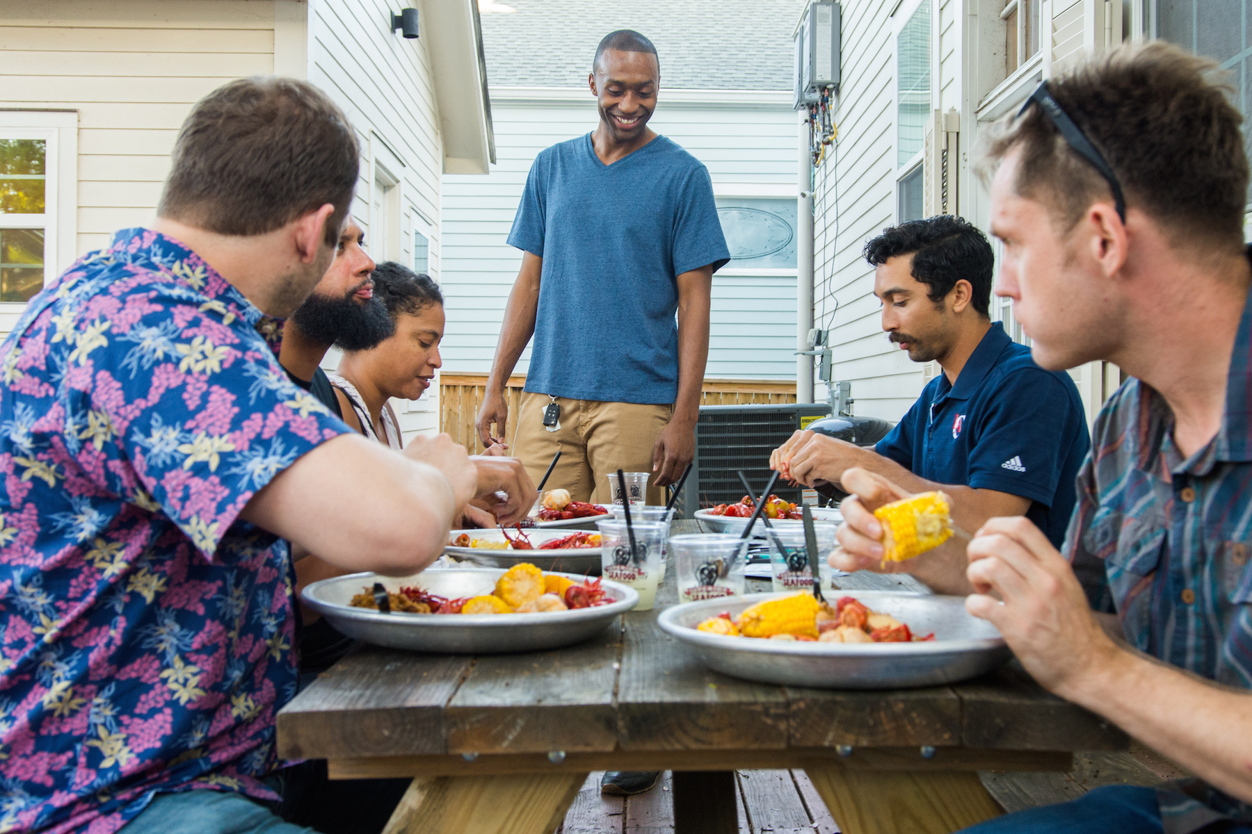 New Orleans friends join us for crawfish and conversations