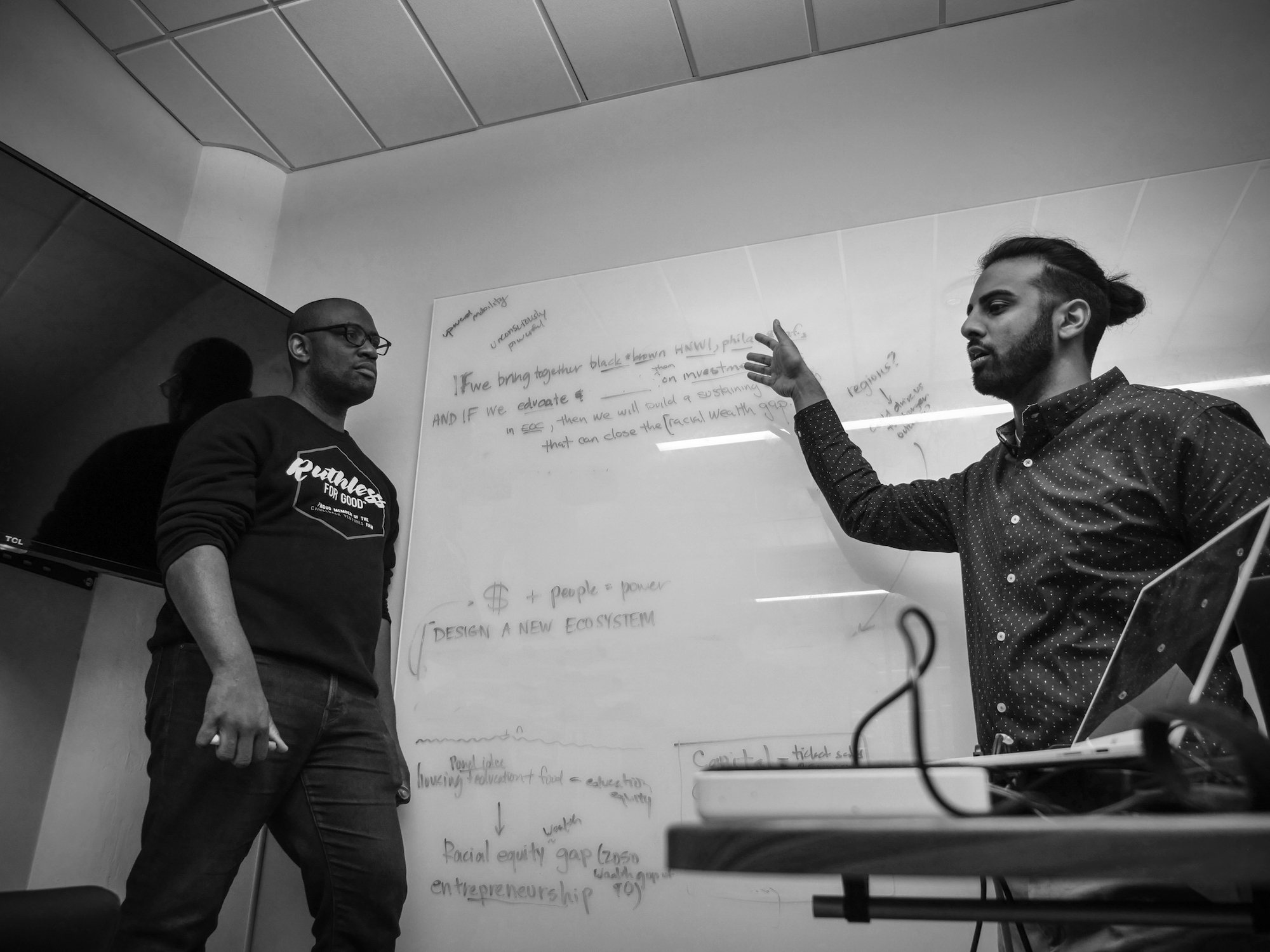 Riyaz in a strategy meeting with CEO Aaron. Photo by Muhammad Lila (intro to him coming in the next few weeks!)