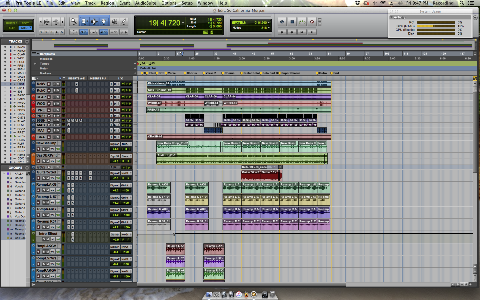 """Pro Tools session for """"So California"""""""