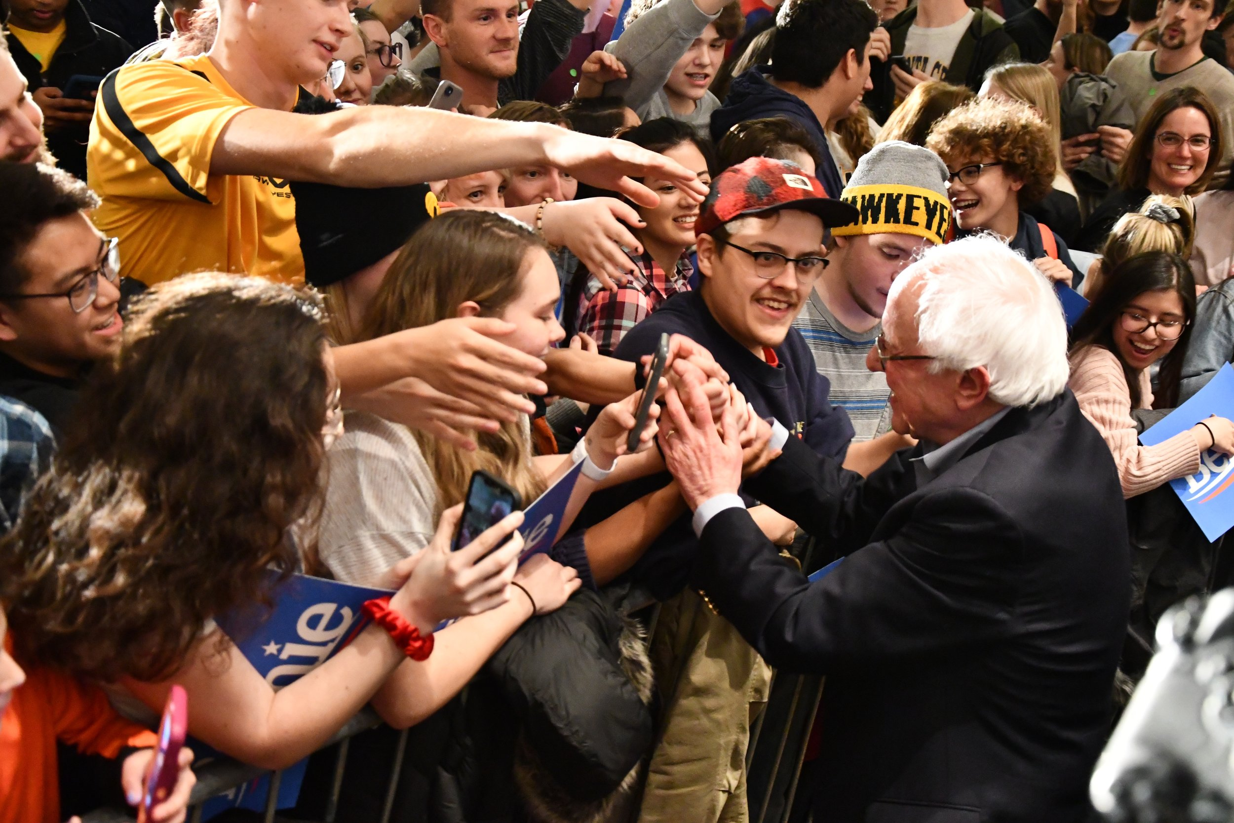 Senator Sanders shakes hands with his supporters. This will be Sanders' second time running for President.  Photo by Olivia Harter