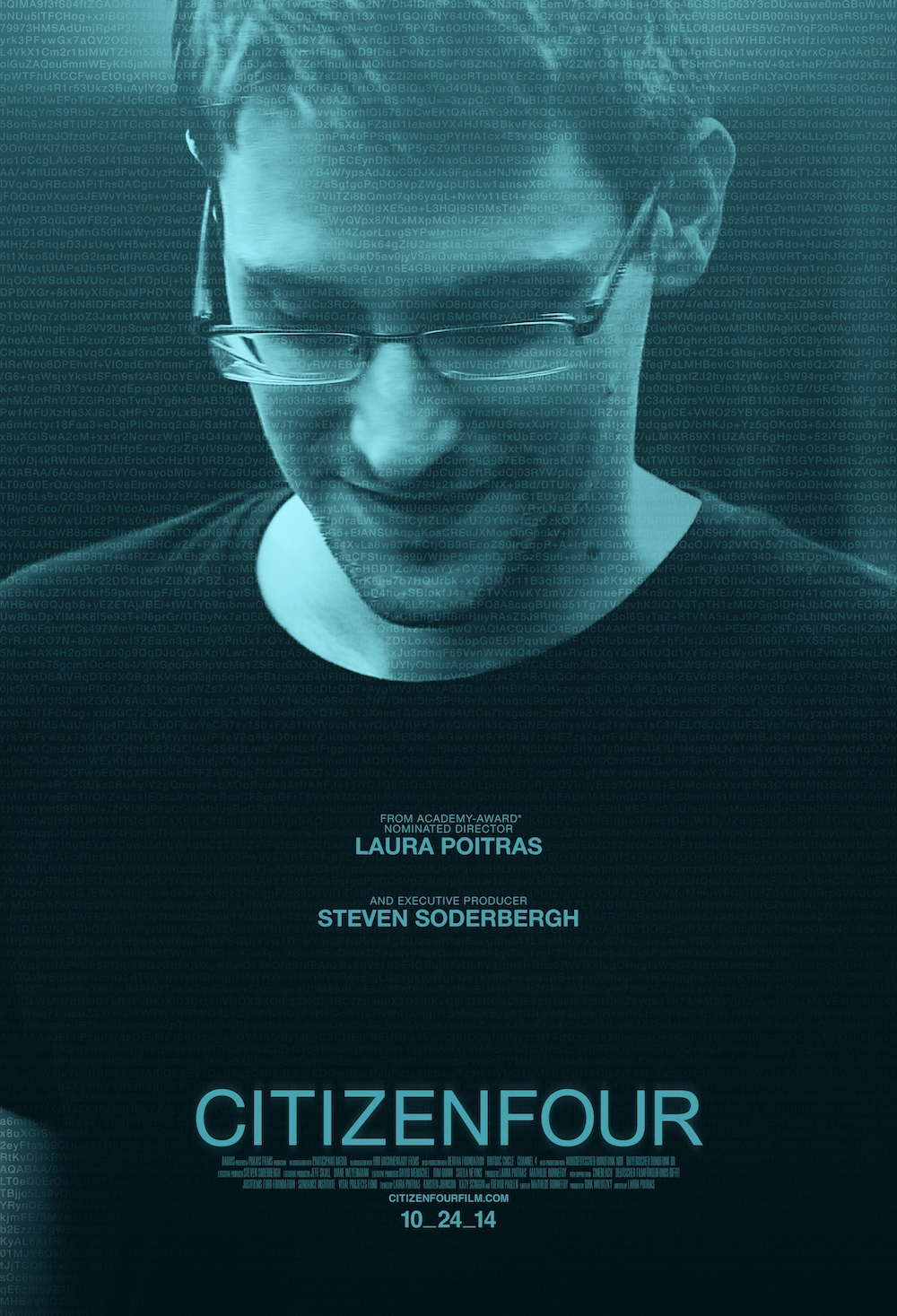 """Poster of """"Citizenfour"""" featuring Edward Snowden.  Courtesy of HBO Films, Participant Media, and Praxis Films."""