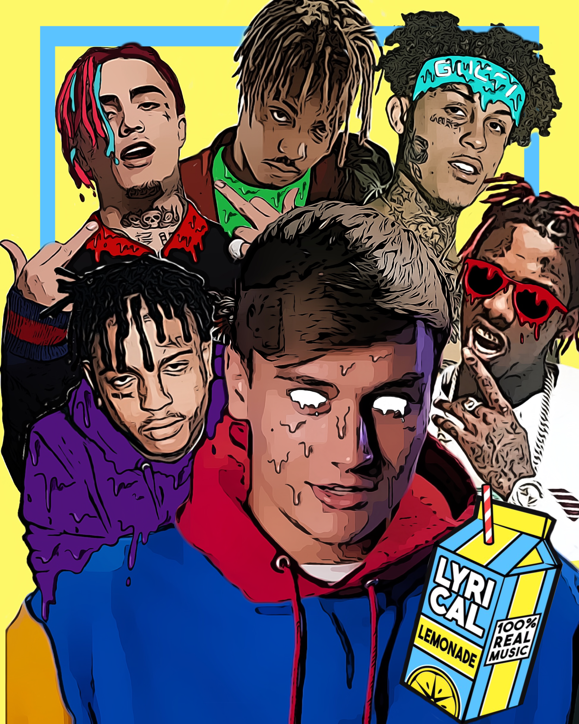 Cole Bennett surrounded by rappers he's worked with through his new company, Lyrical Lemonade. Illustration created by Abby Nopoulos.