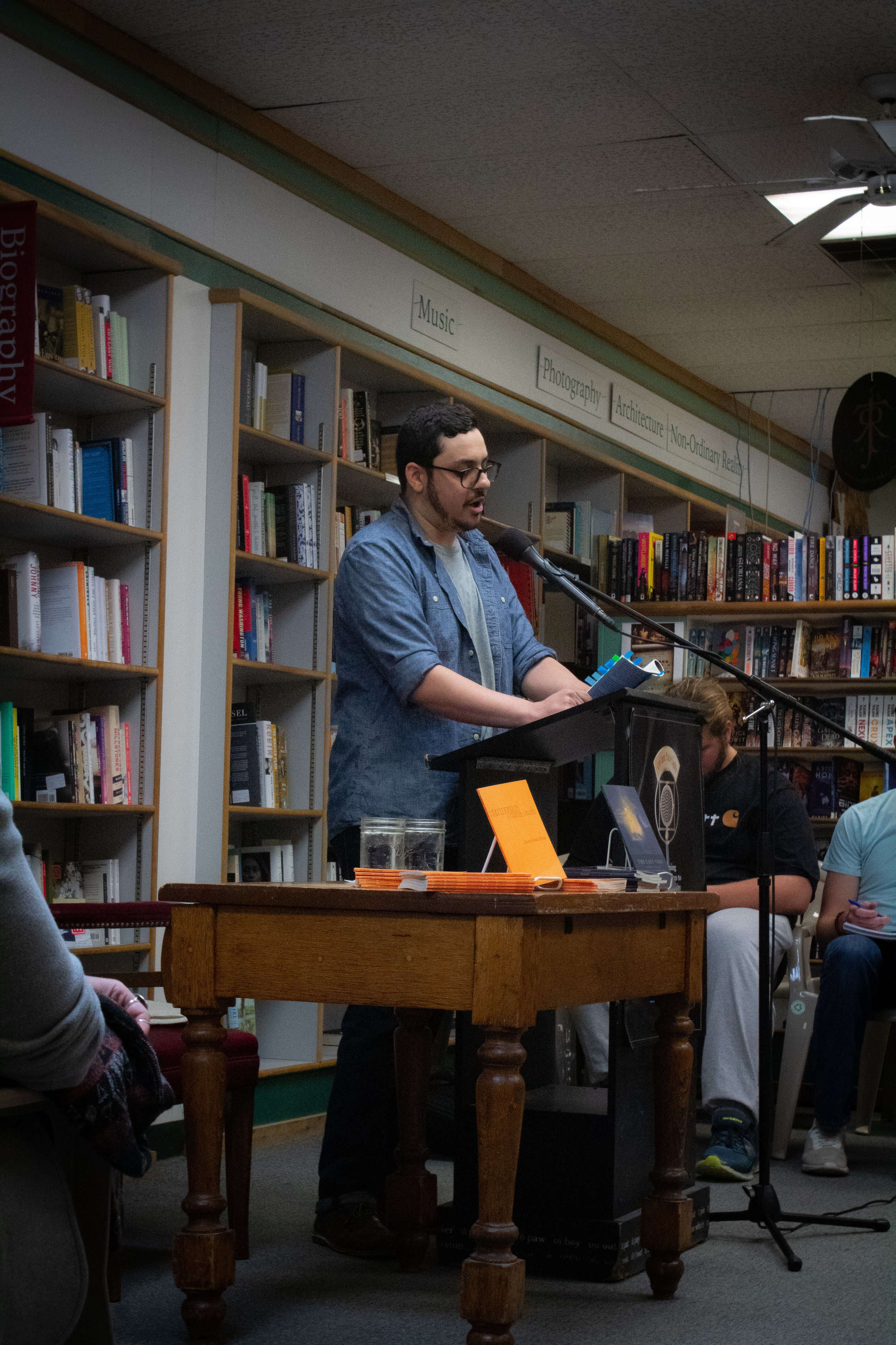 Chad Abushanab reads from  The Last Visit  at Prairie Lights Bookstore.  Photographed by Gabby Estlund.