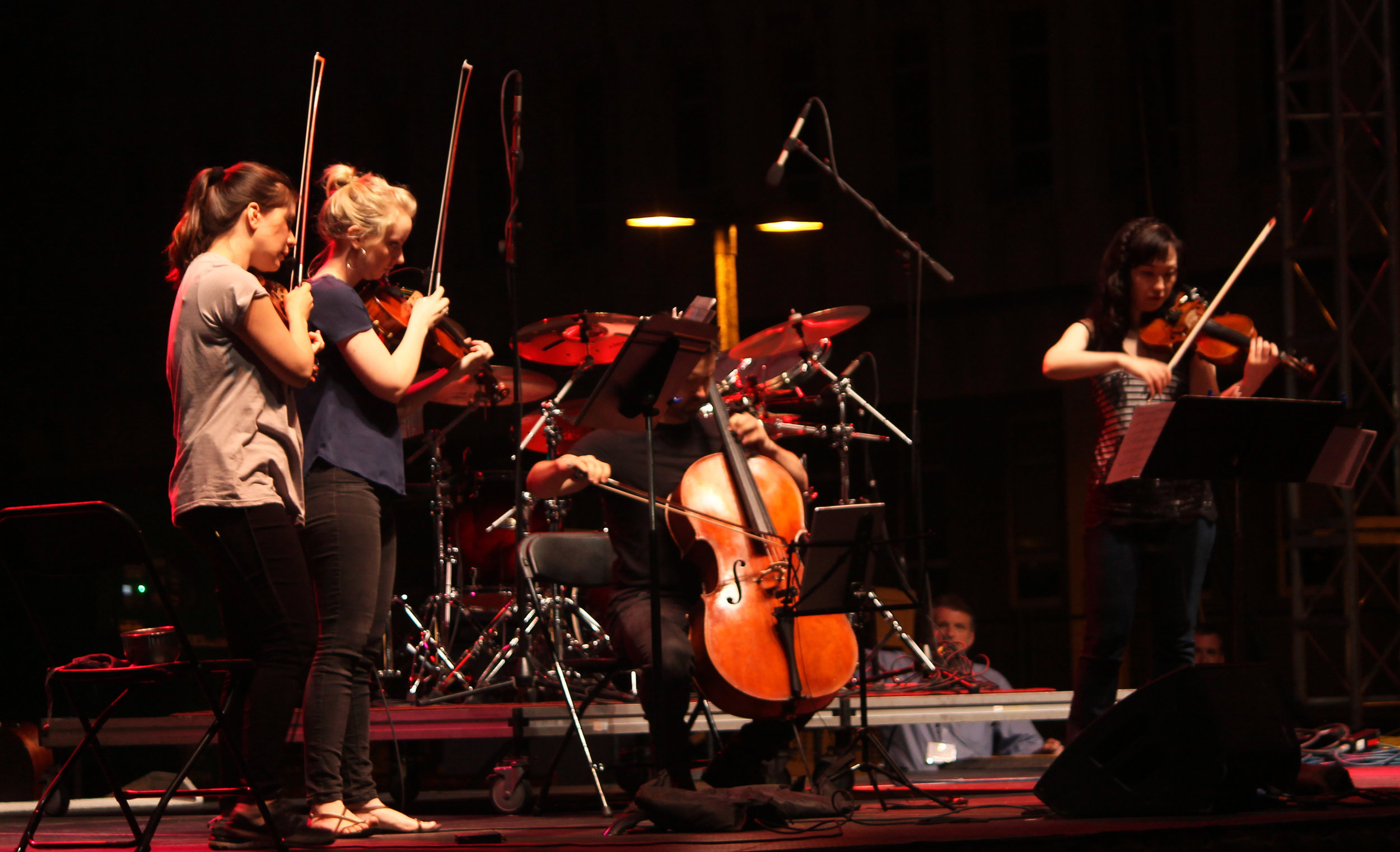 "The Solera Quartet plays a rendition of Pink Floyd's ""Dark Side of the Moon."" Photo by Lauren Arzbaecher"
