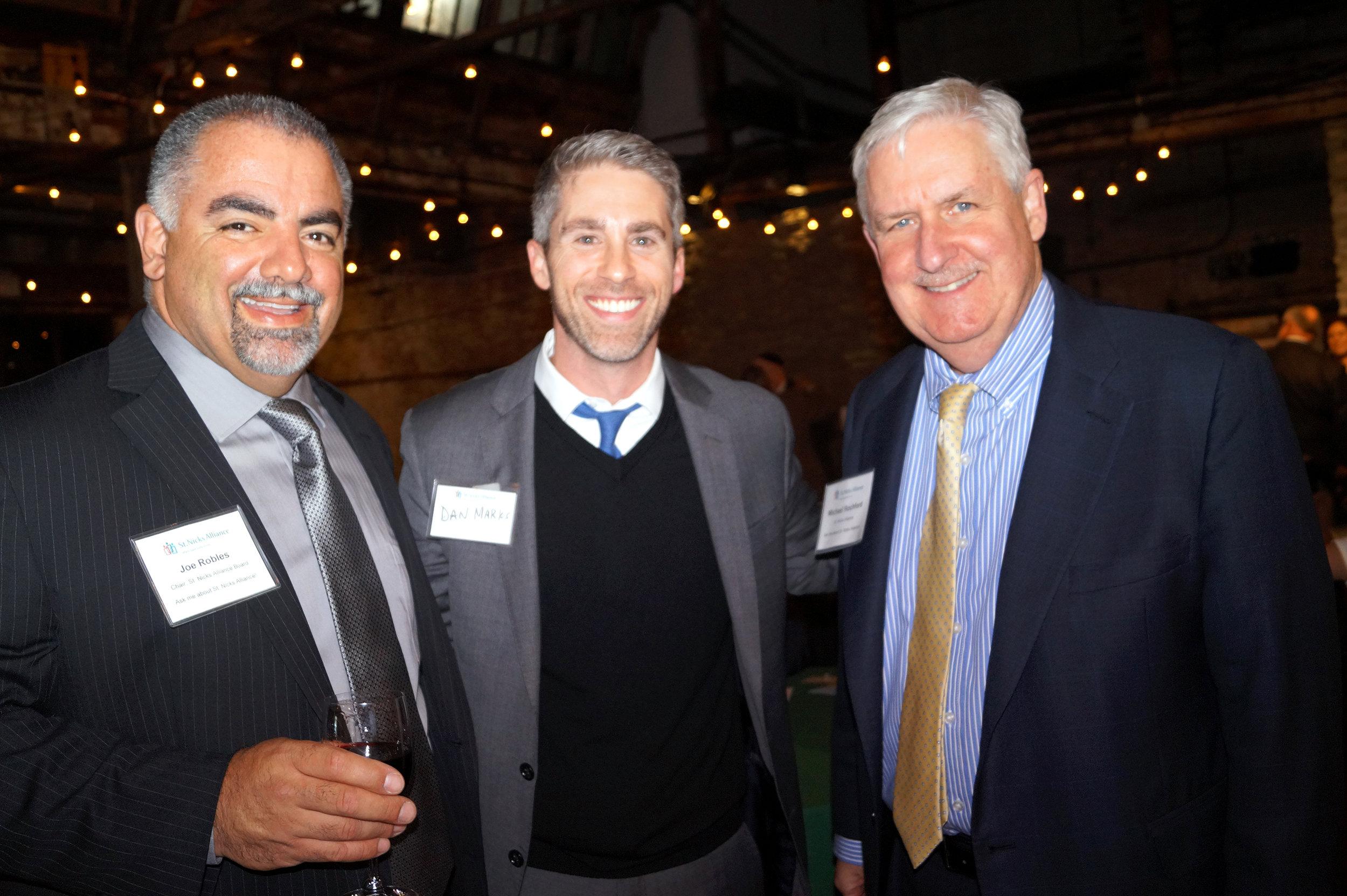 Joe Robles (St. Nicks Alliance Board Chair), Dan Marks, Michael Rochford (St. Nicks Alliance Exec. Dir.)