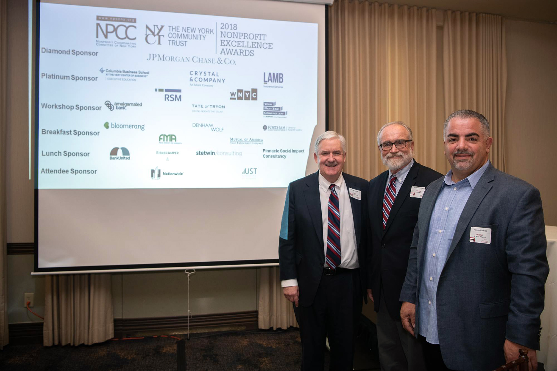 Michael Rochford, Ray Laszczych Joe Robles represent St. Nicks Alliance at the Nonprofit Coordinating Committee of New York Awards