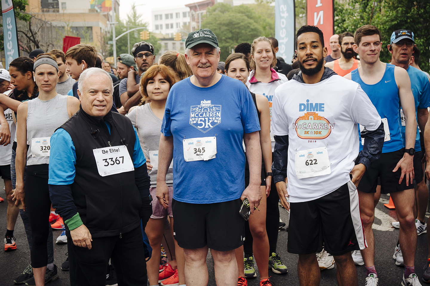 The Dime McCarren 5k/10k starting line with (l to r) Kenneth J. Mahon, Dime President and Chief Executive Officer; Michael Rochford, St. Nicks Alliance Exec. Dir.; and Council Member Antonio Reynoso,  Photo Credit Stefano Giovannini