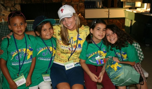 Moyer with campers at Camp Erin