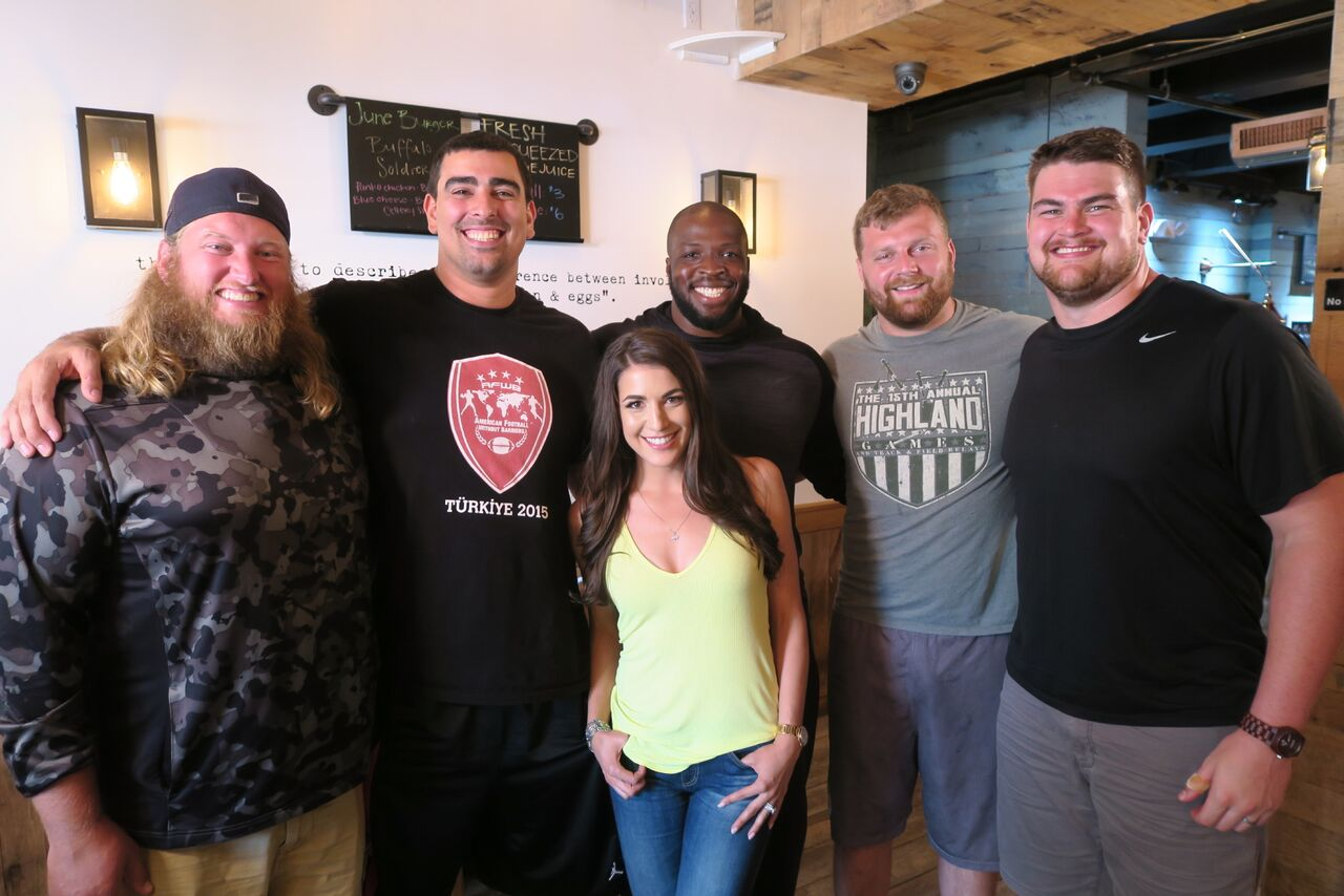 Jackie with Nick Mangold and New York Jets Offensive Line