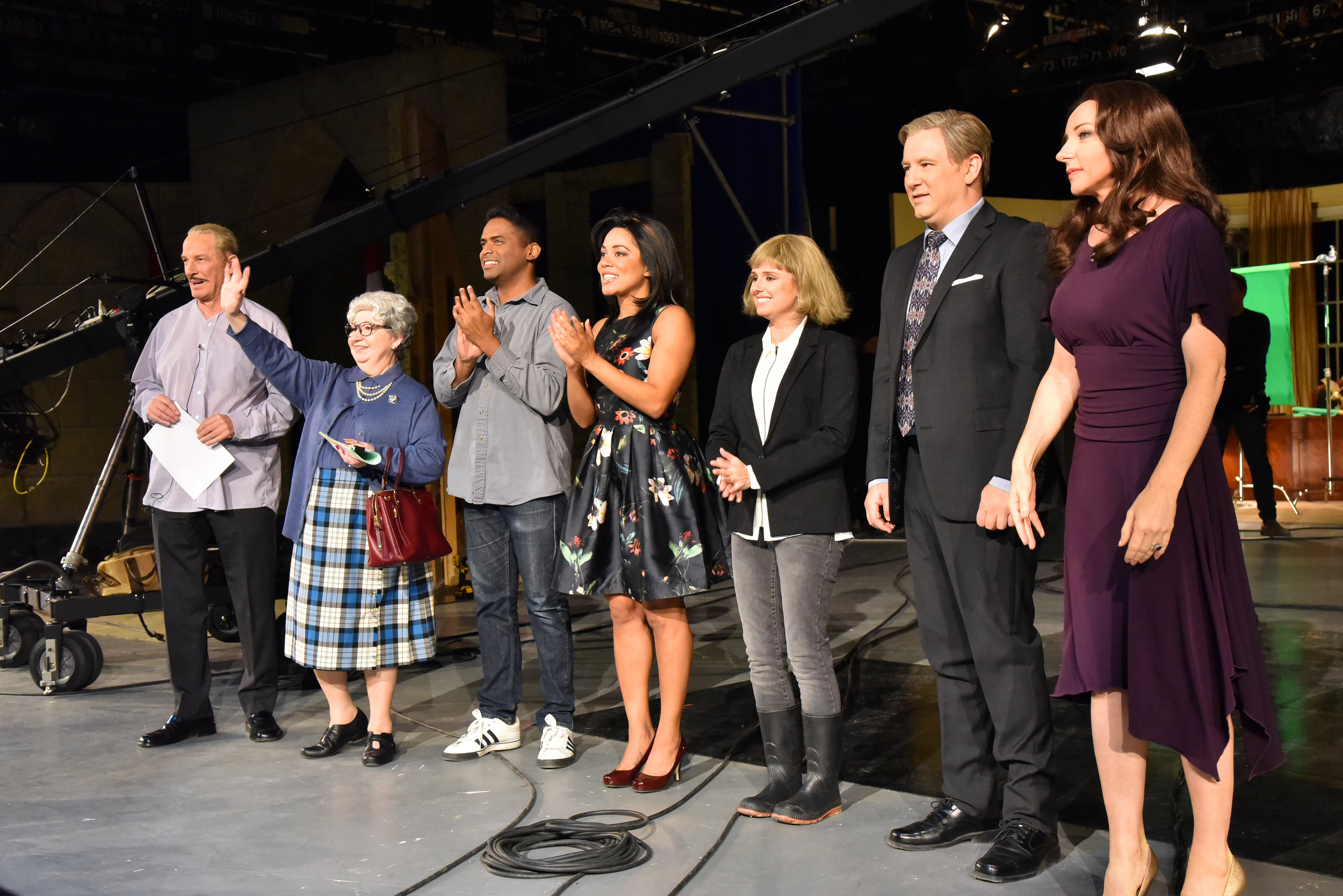 The cast of AIR FARCE NEW YEAR'S EVE 2016 greets the live studio audience (December 8, 2016): Don Ferguson, Luba Goy, Darryl Hinds, Aisha Alfa, Emma Hunter, Craig Lauzon, and -- returning for the first time in six years -- Jessica Holmes!