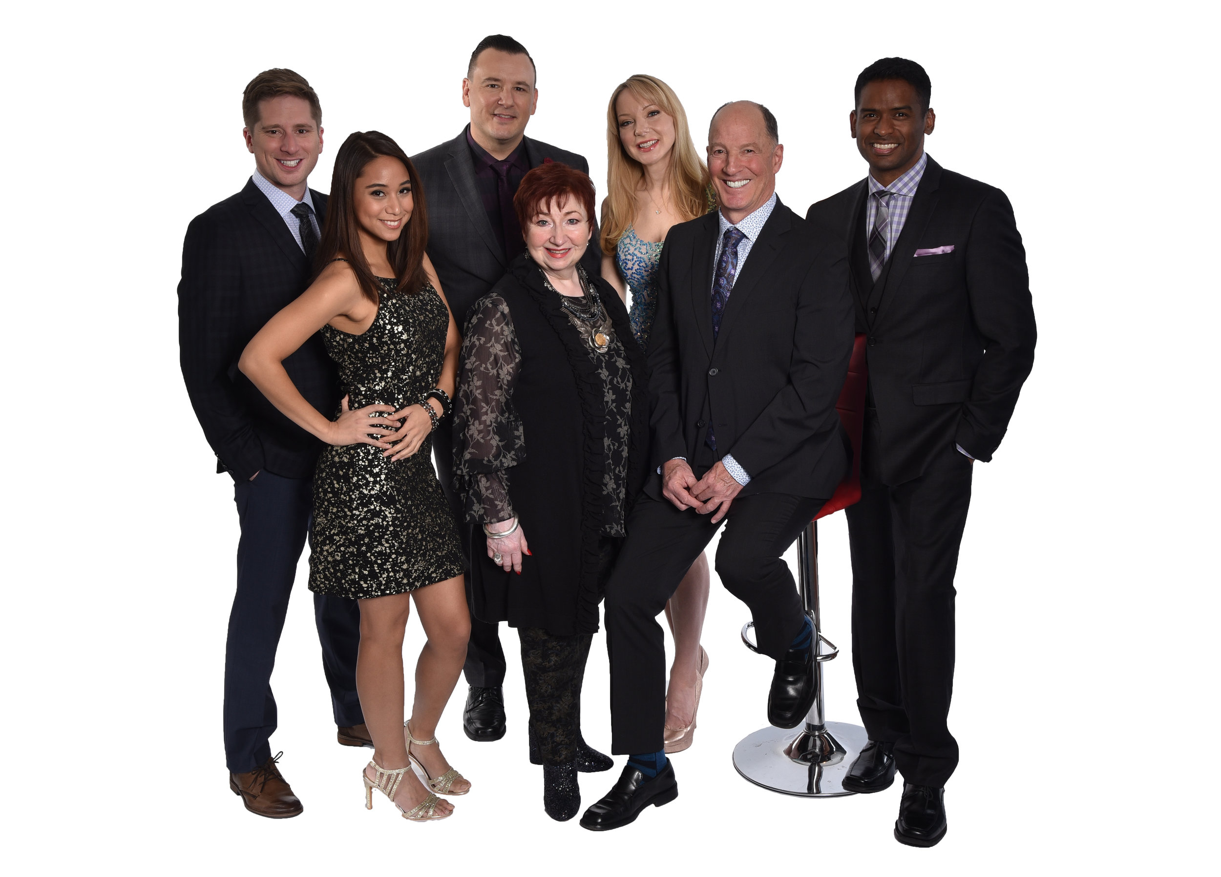 (left to right) Chris Wlson, Isabel Kanaan, Craig Lauzon, Luba Goy, Jessica Holmes, Don Ferguson, Darryl Hinds