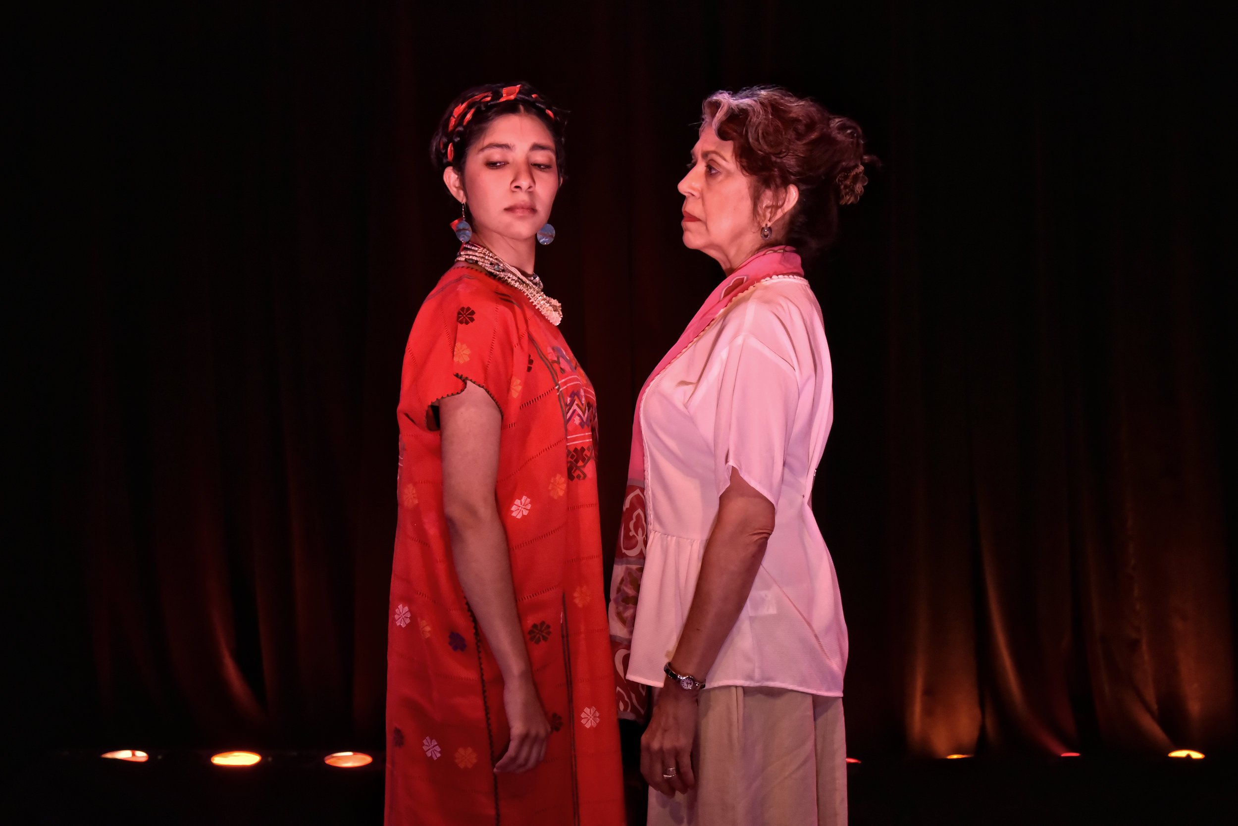 Veronica Maynez as Malinche and Rose Portillo as Peaches in the World Premiere of Mathematics of Love by Cherríe Moraga.  Photo credit Gareth Gooch.jpg