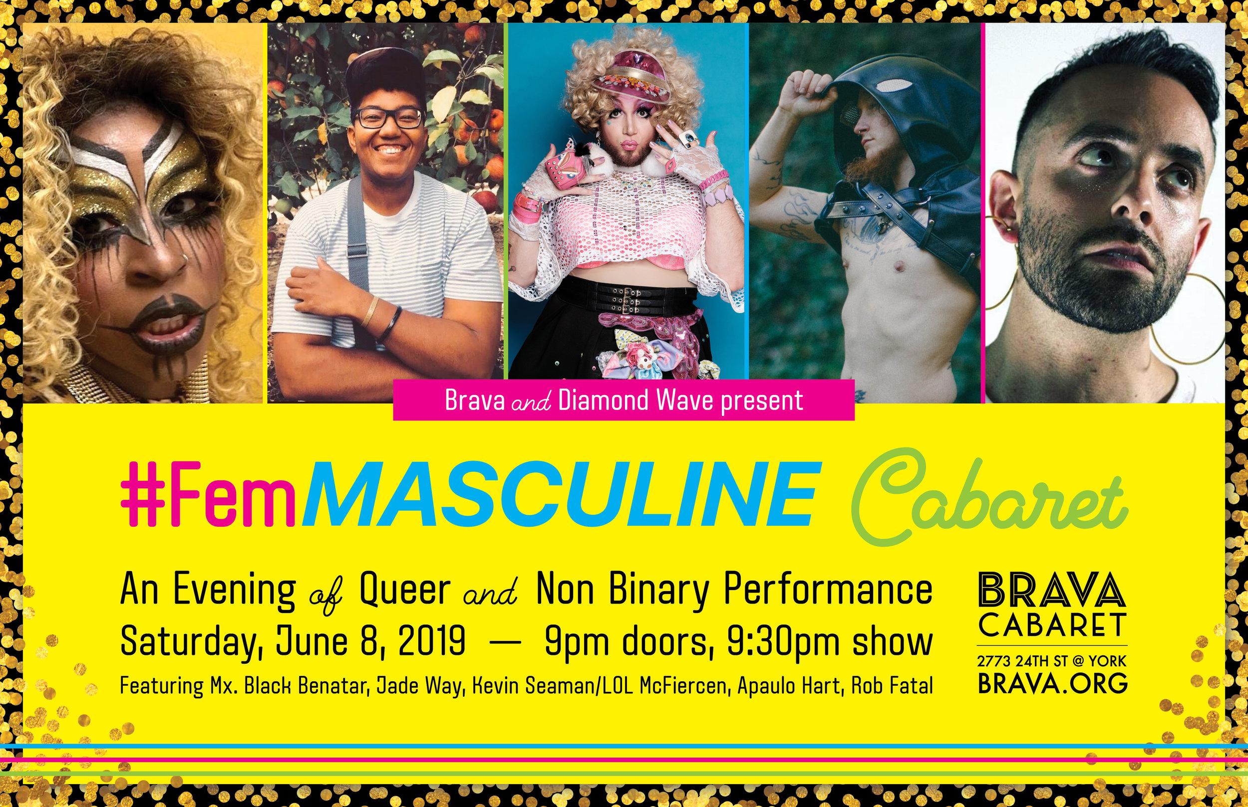 Brava, Femmasculine Cabaret 2019, Door poster 5-23-19.jpg
