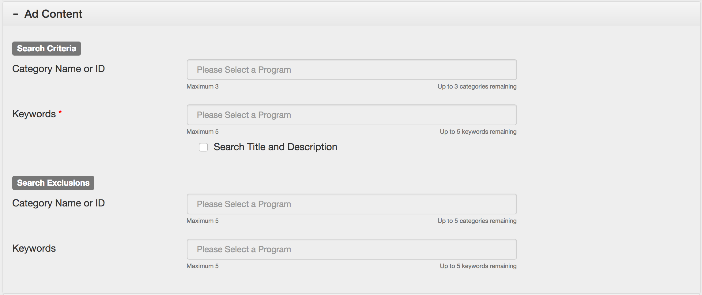 Search Criteria and Exclusions