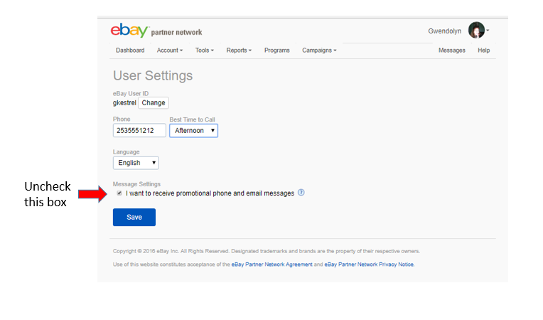 Screenshot of EPN.eBay.com showing the check box that should be unchecked.