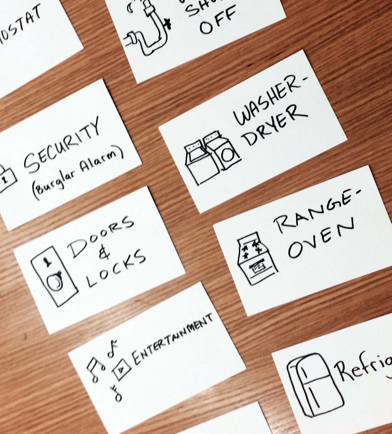Smart home device cards for card sort