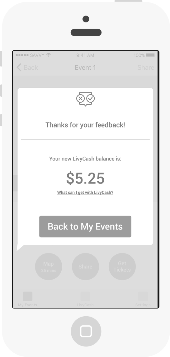 Example of LivyCash awarded to user for sharing feedback